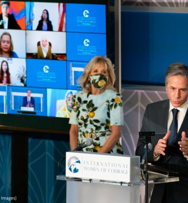Secretary of State Antony Blinken speaks at the 2021 International Women of Courage (IWOC) Award virtual ceremony attended by by first lady Jill Biden, at the State Department in Washington, Monday, March 8, 2021. (© Manuel Balce Ceneta/AP Images)